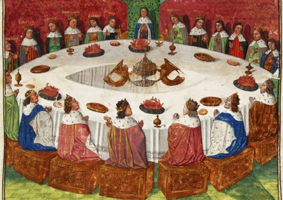 King Arthur's Knights, gathered at the Round Table to Celebrate Pentecost. Print/Poster (5402)